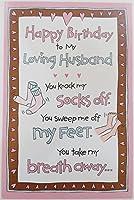 "Happy Birthday to my Loving夫–Cute FunnyユーモアGreeting Card "" You Knock My Socksオフ」"