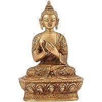 IndianShelfハンドメイド真鍮座っているヒンズー教Jain God Buddha Statue In Dharma Chakra Figurine Buddhist仏教宗教Mudra 18 cm