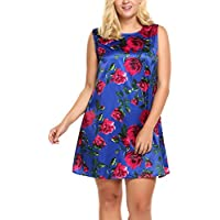 IN'VOLAND Women Plus Size Floral Print Half Sleeve Scoop Neck Party Cocktail Midi Dress