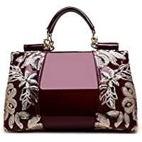 (ウンファッション) WeenFashion レディース スパンコール パテントレザー ダクロン パーティー ファッション クラッチ&イブニングバッグ