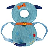ベビー ヘルメット頭部保護 赤ちゃん ヘッドガード 転倒防止 子供 頭を保護できる 枕 リュック セーフティー 室内用 クッション 乳幼児用 安全 かわいい (青い犬, 35 x 20)