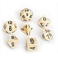 Chessex Manufacturing 27402 Cube Set Of 7 Dice - Marble Ivory With Black Numberingおもちゃ [並行輸入品]