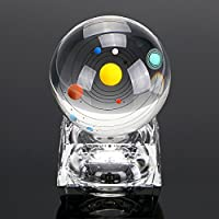 """OwnMy 3D Solar System Ball with Led Lamp Base 3.15""""/80MM Crystal Ball Glass Sphere (Button Cell Included) - Perfect Gift for Kids, Friends, Teachers and Colleague"""