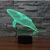Deerbird® 創意 ホーム飾り 3Dビジュアル三次元視覚化イルミネーション 7色の変化 USB充電 のテーブルランプ(クジラ)