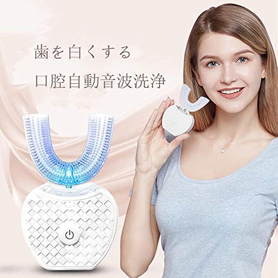 ビジョン恐ろしいです驚アップグレード 口腔洗浄器 デンタルケア 電動歯ブラシ ナノブルーレイ美歯 ワイヤレス充電 虫歯予防 U型 360°全方位 ホワイト