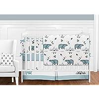 Sweet Jojo Designs 9-Piece Bear Mountain Watercolor Baby Boy Crib Bedding Set with Bumper s [並行輸入品]