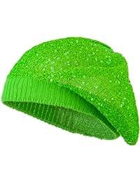 スパンコールナイロン伸縮性ベレー帽 – ライム