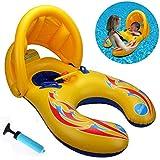 親子用の浮き輪 赤ちゃんとママのプールボート、水遊びに大活躍 プール?海?川 泳ぎトレーナー タンデムリング ベビーボート 2人用 水泳用品 (親子用)