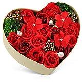 母の日 バラ型ソープフラワー ハートフラワー形状ギフトボックス 誕生日 記念日 先生の日 バレンタインデー 昇進 転居など最適としてのプレゼント