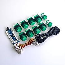 Easygetゼロ遅延LEDアーケードゲームDIYパーツ 10 X LEDは押しボタンを照明した すべてのwindowsシステムをサポートできる MEME&格闘ゲーム向け -- 緑