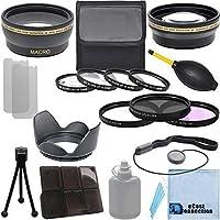 Pro Series 52mm 0.43x Wide Angle Lens 2.2x Telephoto Lens (3) Pc Filter Set (4) Pc Close-Up Lens Filter Set Lens Hood for Nikon DSLR Cameras & an eCostConnection Deluxe Lens Accessories Kit [並行輸入品]