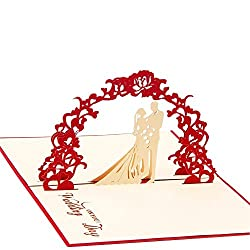 Paper Spiritz 結婚祝いカード「結婚式」立体ポップアップ グリーティングカード バレンタインカード 記念日 おめでとう カード 封筒付き