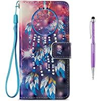 iPhone 7 Plus Case,iPhone 8 Plus Case,GrandoinR [3D Colorful Prints Series][Lifetime Warranty] Premium PU Leather Magnetic Flip Cover with Card Slots Holders & Hand Wrist Strap [Soft Silicone Inner] Bookstyle Wallet Case For Apple iPhone 7 Plus/iPhone 8 Plus 5.5 Inch (Wind chime)