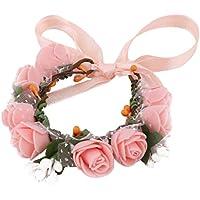 uxcell 造花 装飾 花嫁ブーケ 手首の花 レディー フォーム 8 花の頭 人工 ダンシング DIY 装飾 コーラルピンク