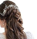 【morningplace】パール かんざし ヘッドドレス ウェディング 髪飾り 結婚式 和装 ブライダル に (シルバー)