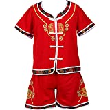 Inlefen Boys Short Sleeve Tang Suit Martial Arts Hanfu Kids Auspicious Embroidery Uniform Costume