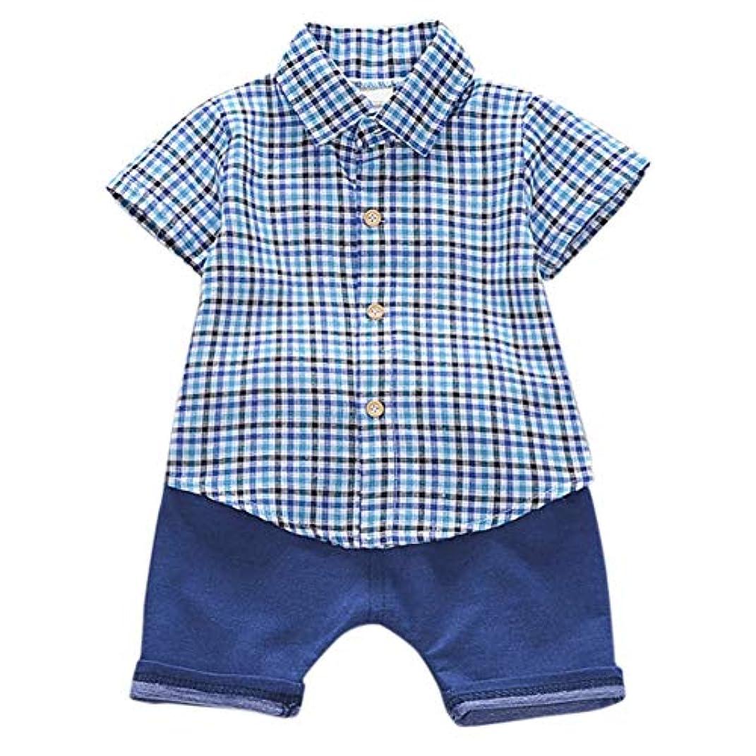 飾る少ないぐったりRad子供 サマーキッズベビーボーイズカジュアル半袖チェック柄プリントTシャツトップス+ショーツコスチュームセット