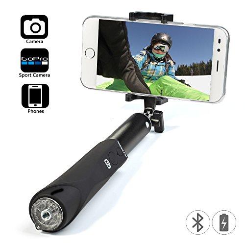 YIEASY 自撮り棒 スマホ/カメラ セルカ棒 Bluetoothシャッターボタン(取り外し不可/充電式) スマホホルダ...