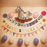 アルミ風船 HAPPY BIRTHDAY 文字 誕生日 パーティー 1歳のお祝い お出産祝い 洗礼式用 記念日 撮影 写真 飾り 壁飾り 浮かぶ 子供おもちゃ プレゼント 記念品 特大セット 紙吹雪 木馬 バルーン セット (男の子セット(ブルー木馬))