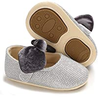 Sawimlgy Baby Girls Sparkly Mary Jane Ballet Flats with Anti Slip Rubber Sole Dress Flower Wedding Shoes Newborn Toddler Prewalker Crib Shoes