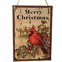 ハンギングボード クリスマス 鳥 メリークリスマス ハンギング看板 装飾 木製の看板 木製