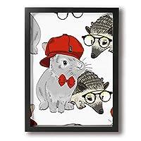 ウサギ ハリネズミ 友情 装飾画 縦3D柄プリン アートフレームモダン ブラック現代壁の絵額縁付きの完成品 部屋飾り 壁掛け 軽くて取り付けやすい 30×40cm