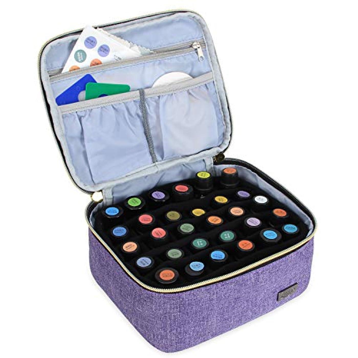 週間眠りスキニーLUXJA エッセンシャルオイル ポーチ 30本収納(5ml - 30ml) (単層?紫)