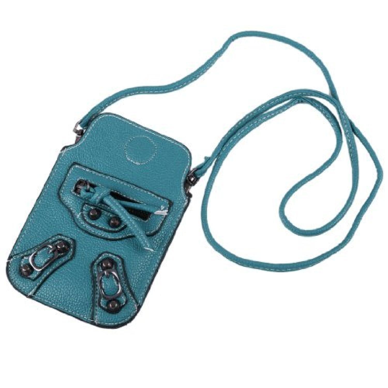 ブルーフェイクレザーマグネット開閉ファスナースタッド装飾の携帯ストラップ付きポーチバッグ