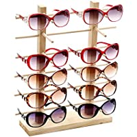 SODIAL Multi Layers Wood Sunglass Display Rack Shelf Eyeglasses Show Stand Jewelry Holder For Multi Pairs Glasses Showcase Double 12 Rows