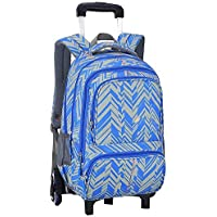 KJRJLG Girls Rolling Backpack Wheeled Backpack Trolley School Bag Travel Luggage (Color : Blue)