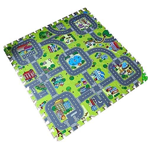 YSAK ジョイントマット キッズ マット パズル フロアマット 耐水性 赤ちゃん 道路 床保護 知育 9枚セット