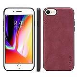 IPhone 8のためのレトロな360度のビロードの質感の保護の防湿性の衝撃吸収PU + TPUの場合サポートIPhone 8のための無線充満 L&Y (Color : Red)