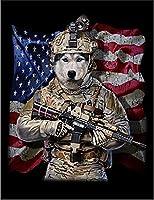 【FOX REPUBLIC】【兵士のシベリアンハスキー いぬ 犬】 黒マット紙(黒フレーム付き)A1サイズ