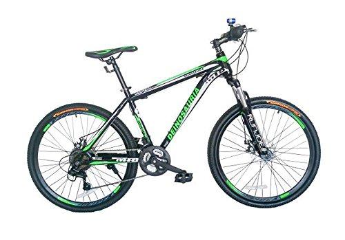 GOWAY(ゴーウェイ)マウンテンバイク 自転車 26インチ シマノ純正21段変速 Wディスクブレーキ 前輪クイックリリース (ブラック・グリーン)