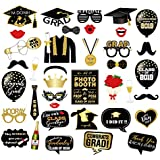 CC HOME Class of 2019 Congrats フォトブース小道具 - 卒業写真ブース小道具 (38個) 卒業パーティー小道具 ブラックとゴールドの高校 ホームオブプロム 大学2019年卒業デコレーション