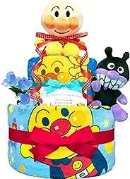 KanonBabys アンパンマンとバイキンマンのおむつケーキ ダイパーケーキ 2段 (パンパースS22枚 男の子 出産祝い用)