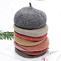 HENGTONGTONGXUN Japanese Women Fall and Winter Wool Bud Hat Literary Small Fresh Three-Dimensional Korean Version of The Warm Knit Beret Simple and Practical Product