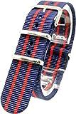 [2PiS] ( トリプルネイビー・ダブルレッド(細線) : 20mm ) NATO 腕時計ベルト ナイロン 替えバンド ストラップ 交換マニュアル付 90-1-20