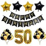 OSVINO クラシックゴールド ブラック 30歳 40歳 50歳 60歳 誕生日 誕生日 結婚式 記念日 パーティーデコレーションキット L-HBDECOR01-4
