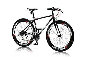 CANOVER(カノーバー) クロスバイク 700C シマノ21段変速 CAC-025 (NYMPH) ディープリム グリップシフト フロントLEDライト付 ブラック