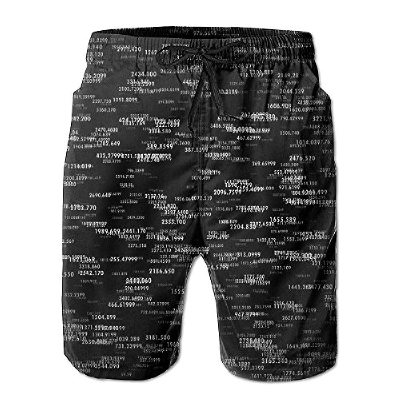 メンズ ビーチショーツ ショートパンツ 黒いプリント 水着 スイムショーツ サーフトランクス インナーメッシュ付き 通気 速乾