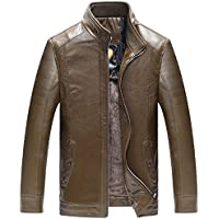 Chouyatou Men's Winter Front Zip Sherpa Lined Business Faux Leather Barn Jackets