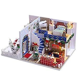 Aliciga メリークリスマス ドールハウス DIY 3D 木製 搭載 家族 お部屋 聖夜 雰囲気満点 ミニチュア 手作り 初心者 ミニ 家具 ハンド メイド 組立 工芸品キット かわいい リアル 美しい インテリア 装飾 小物 居間 ベランダ ベッド 記念日 誕生日 ギフト ツール・接着剤・付属LEDライトなし