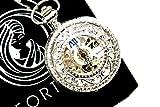 【FORTUM】 ハーフハンター 両面 スケルトン 手巻き式 懐中時計 アンティーク ネックレス 時計 フックチェーン 化粧箱 収納袋 セット (シルバー 銀)