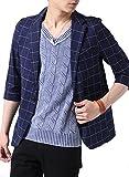 (アーケード) ARCADE 綿麻 プリペラ ストレッチ 7分袖 テーラードジャケット M ネイビーウィンドペーン