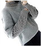 (ヴィラコチャ) Viracocha ニット セーター ニットソー フワモコ ガーリー トップス 異素材 MIX レディース ケーブル 編み プルオーバー 人気 白 ハイネック グレー タートル カーディガン ボーダー 黒 ロング タイト リブニット (グレー)