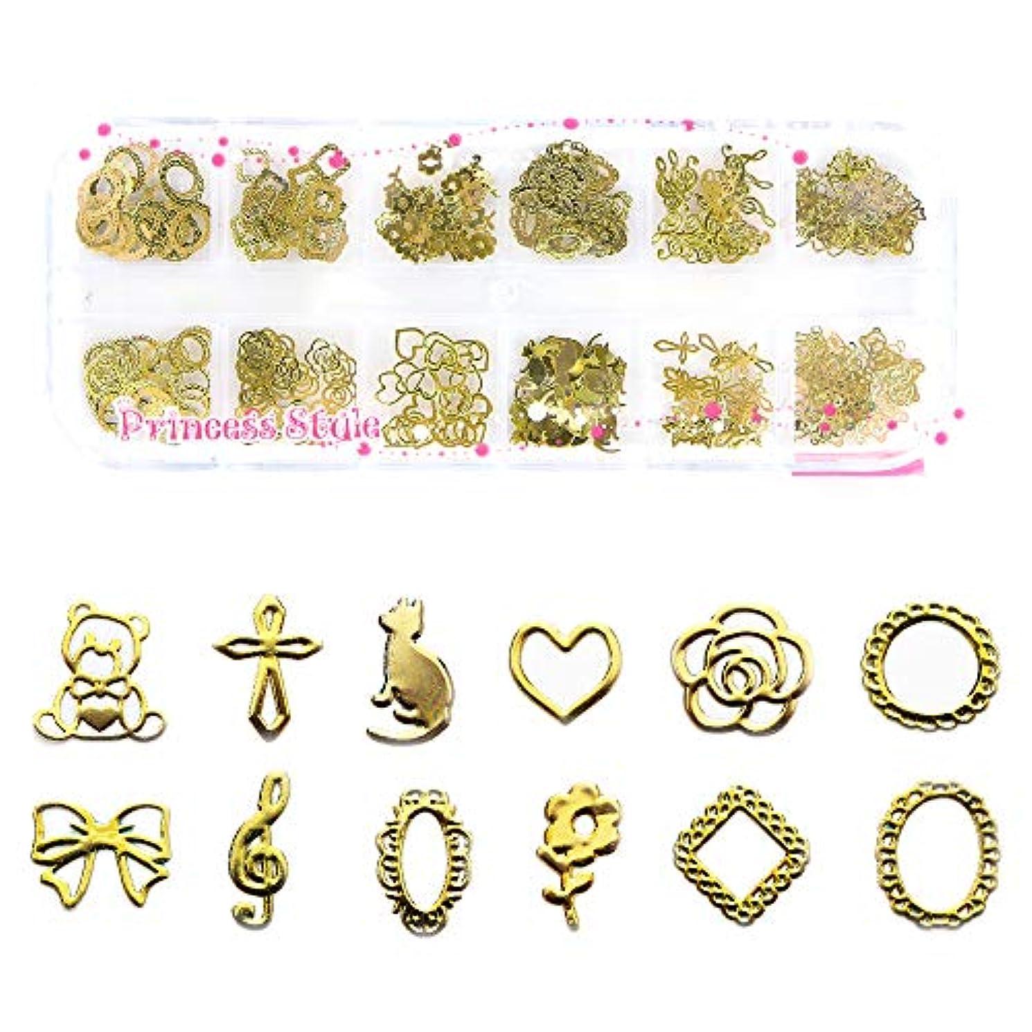 ダブルプリーツタイプライター薄型アートパーツゴールド ネイル&レジン用 12種類300枚以上ケース入