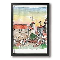 ホワイトサン フォトフレーム A4 フレーム 日没のニュルンベルグ 壁掛け 枠付き ポスター アートフレーム パネル