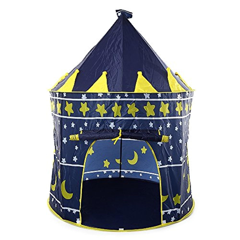 折りたたみ式子供Fairy Castle Tent Play HouseアウトドアインドアPop Up CubbyキャノピーToy Kids Deepブルー