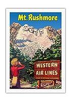 ラシュモア山国立記念公園 - 米国サウスダコタ州ブラックヒルズ - ウェスタン航空 - ウェスタン行楽地への航路 - ビンテージな世界旅行のポスター c.1950s - キャンバスアート - 69cm x 102cm キャンバスアート(ロール)